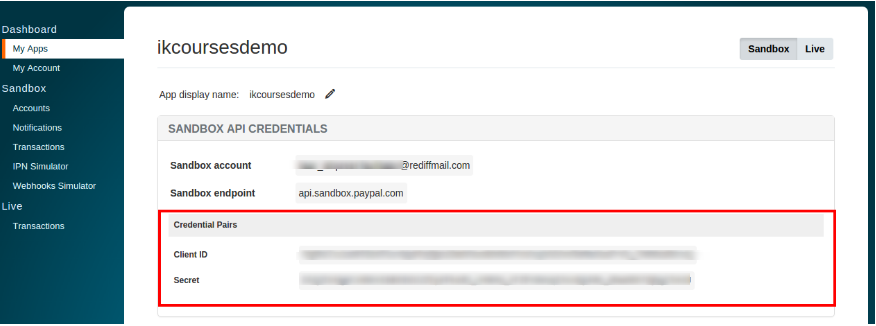Paypal Integration   Creating ClientId and Secret Key via