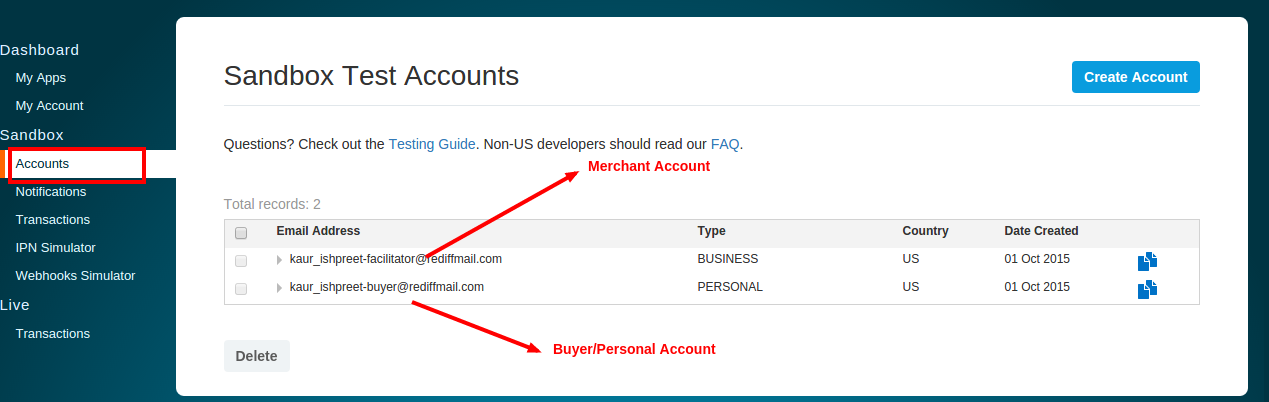 Paypal Integration | Creating ClientId and Secret Key via