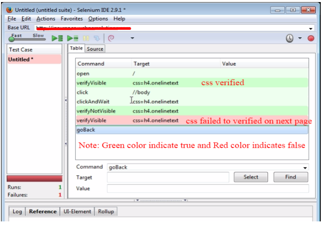 Selenium IDE: Locate and verify GUI and CSS Elements