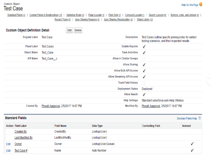 Test cases generation and bug report generation in salesforce