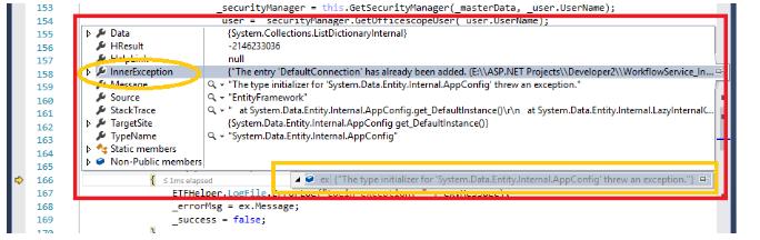 Diagnosing the exception: System Data entity Internal appConfig