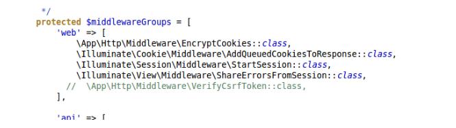 How to Disable CSRF token in Laravel Application