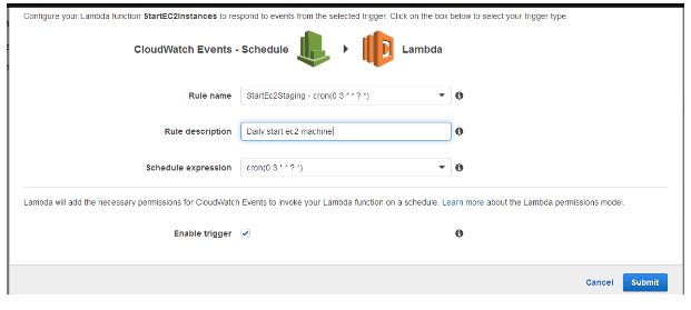 AWS | How to start/stop Amazon EC2 server using Lambda Services