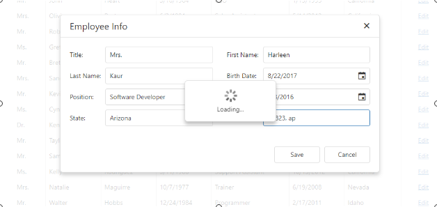 Devextreme   Invoke Custom Loader on click of any button