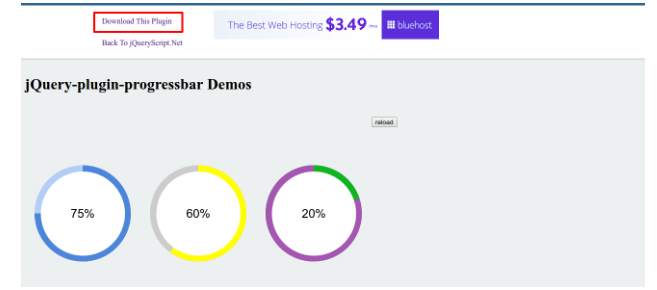 Jquery | Display progress circle according to percentage