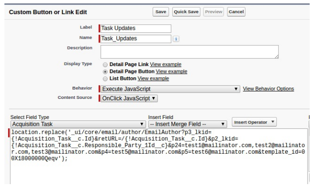 Open Send Email form on Custom Button click in Salesforce