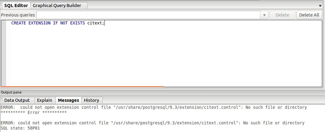 "PostgreSQL 9.3.15 | Type ""citext"" does not exist"