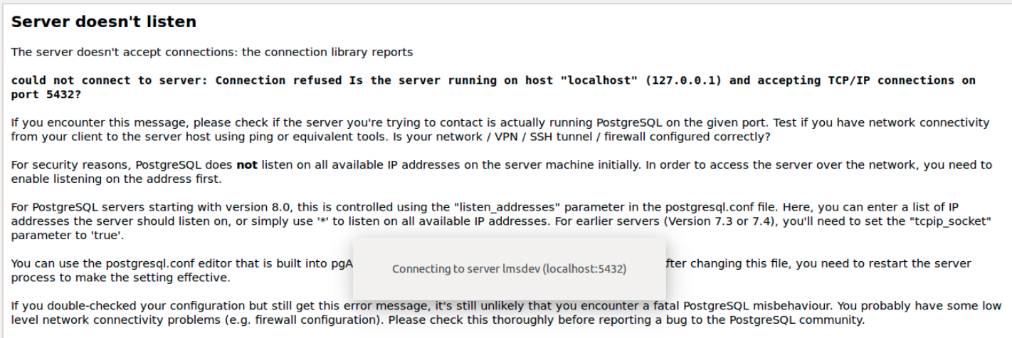 PostgreSQL - Server doesn't listen error
