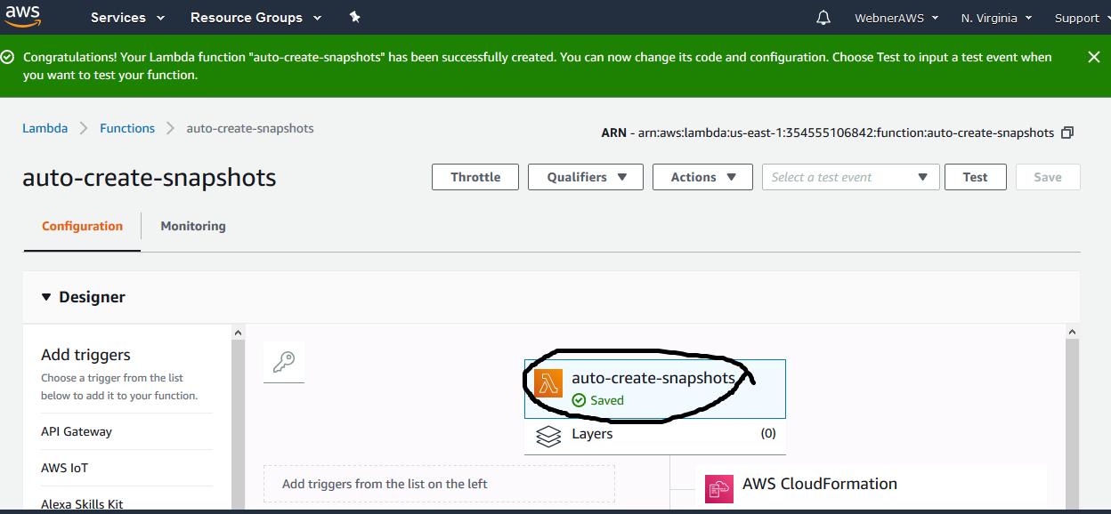 Automate aws snapshot using Lambda and cloudwatch service
